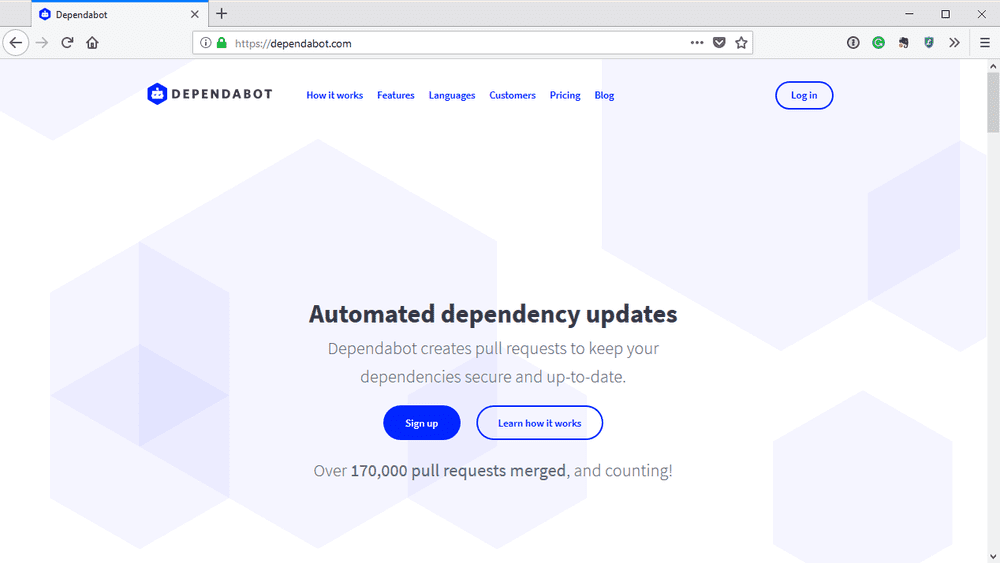 Sign up for Dependabot