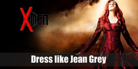 Jean Grey has a long flame-like red hair and she wears a red shirt, a red trench coat, red pants, and a red corset.