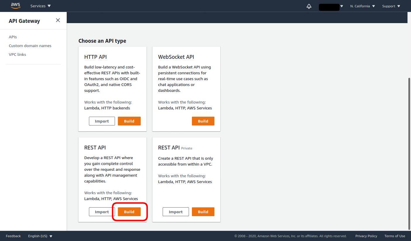 Click Build under REST API