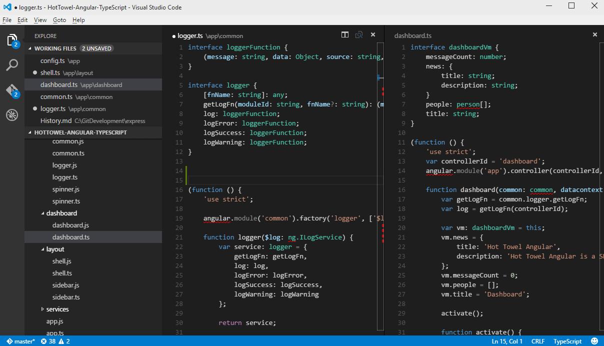 Screenshot of Visual Studio Code Editor