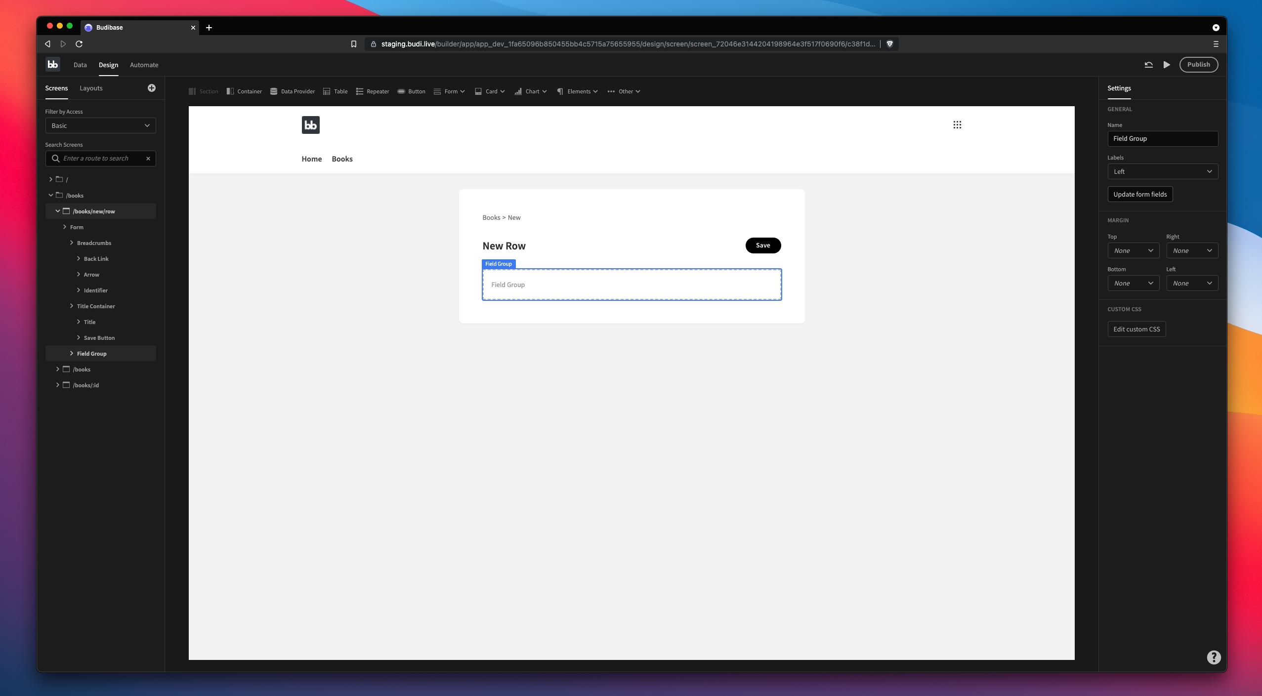 Update form fields in Budibase app