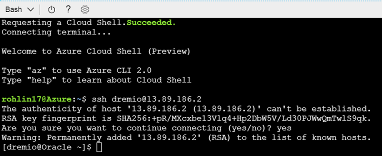 Open the Cloud Shell on Azure