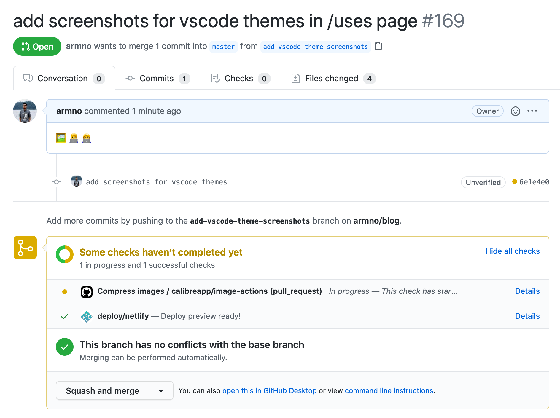 A new pull request is created