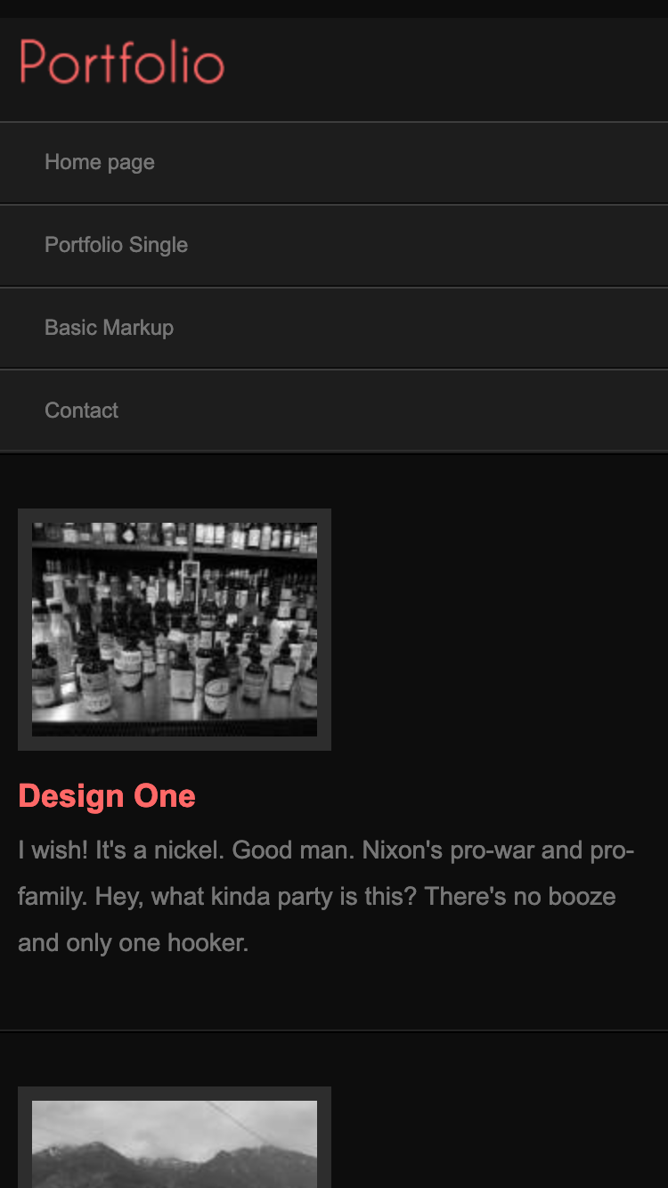 Screenshot of Portfolio Mobi Dark mobile website template