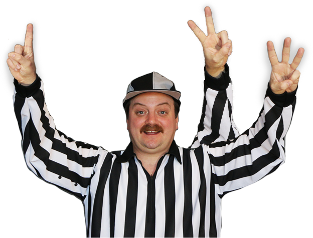 3-armed referee counting 1, 2, 3