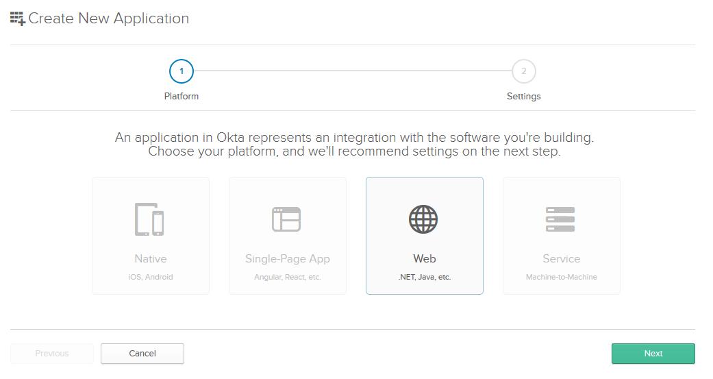 Okta new application page