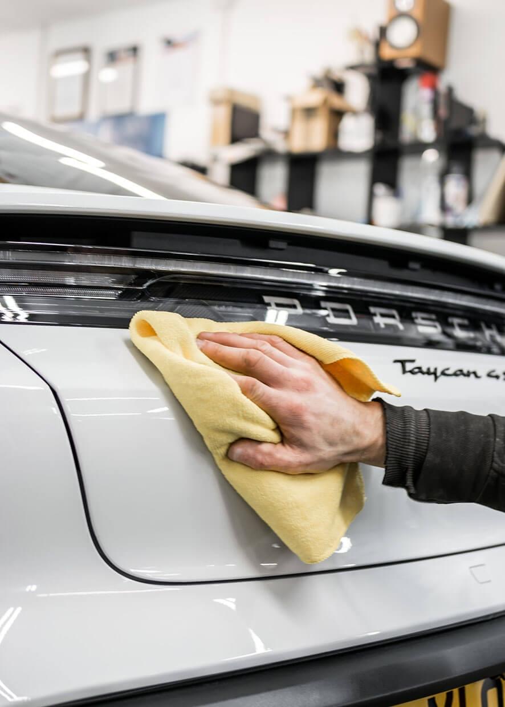 Car going through the automotive detailing service
