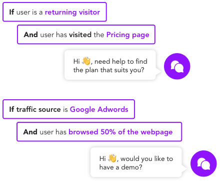 Trigger specific chatbots based on traffic origin or behaviour.