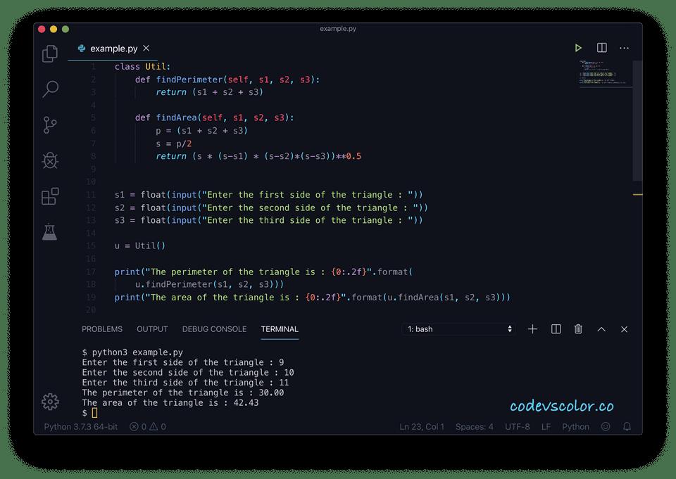 Python find perimeter area class