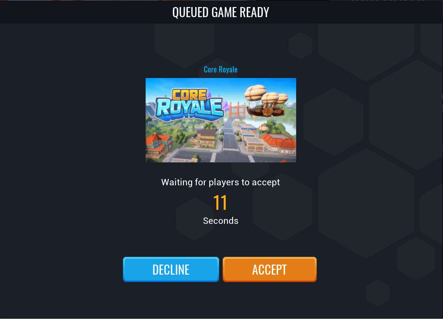 Queued Game Ready pop-up
