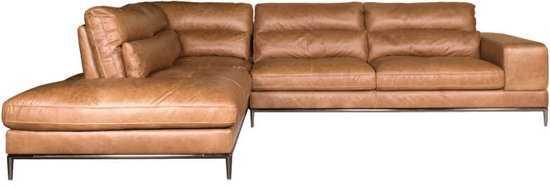 Homingxl Loungebank Titan Chaise Longue Linksleer Cognac 9200000081222450_8 Metaal