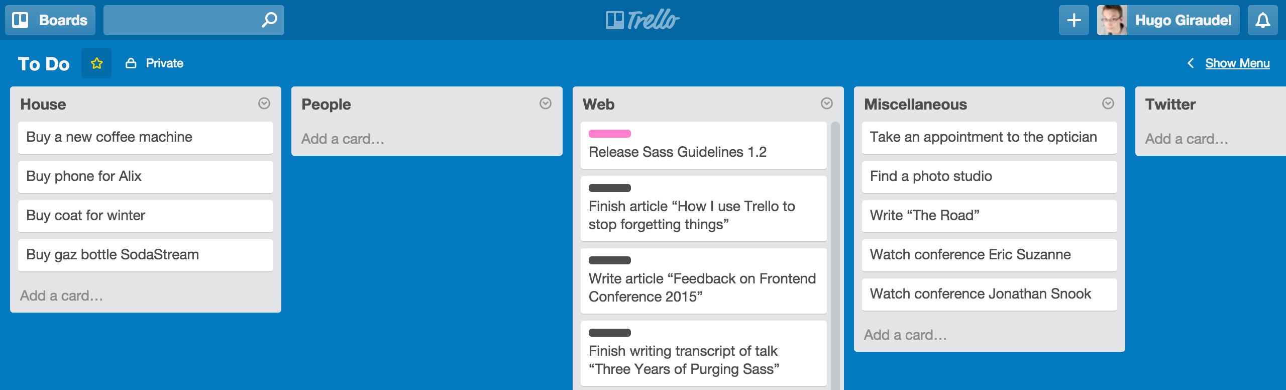 An overview of my Trello board
