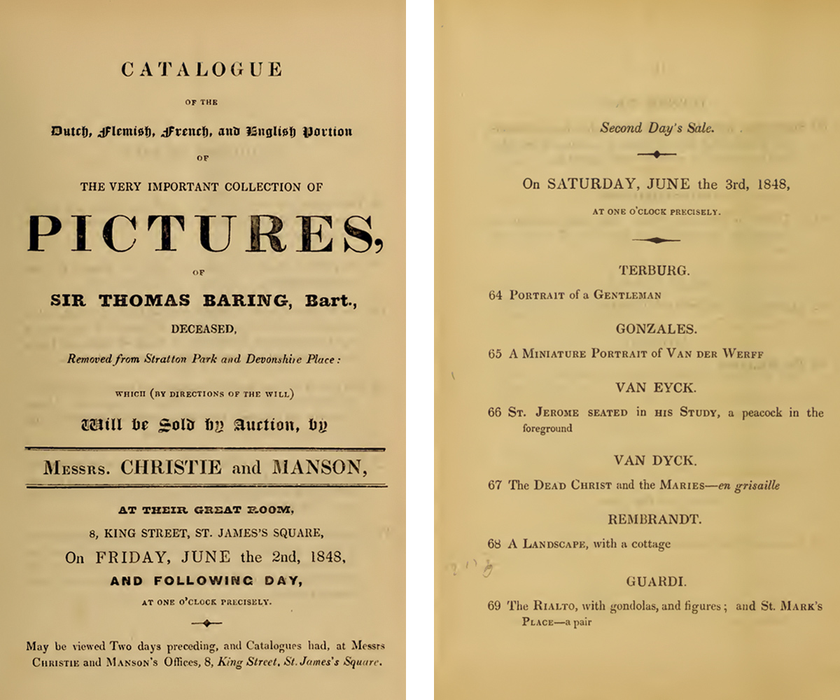 Title page and interior page from an illustrated sales cataglogue listing sales of key art works.