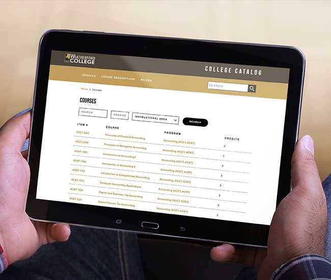 Student using course catalog software on a phone