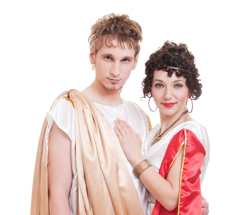 Portrait of a couple dressed in old greek style