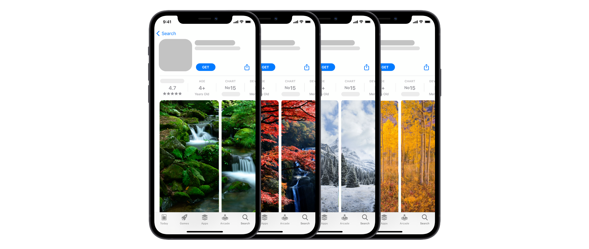 4 App Store Screenshots showing different Product Page Variants