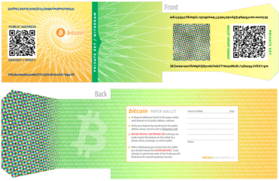 Printed version of a Bitcoin paper wallet, public address and private keys on one side and tips and note section on the other