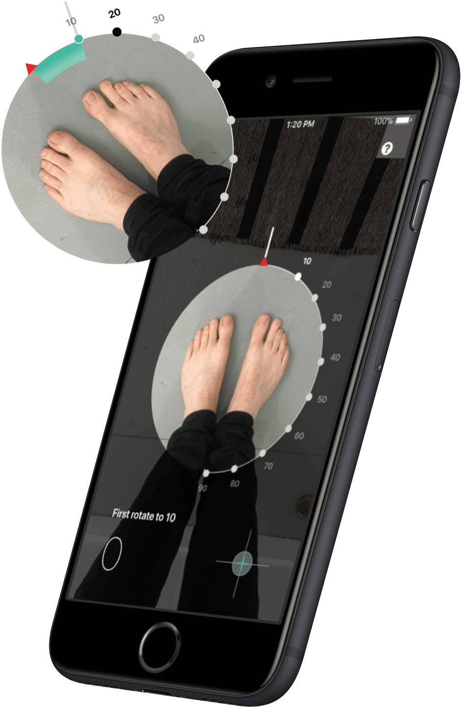 FTSY mobile app foot scanning screen