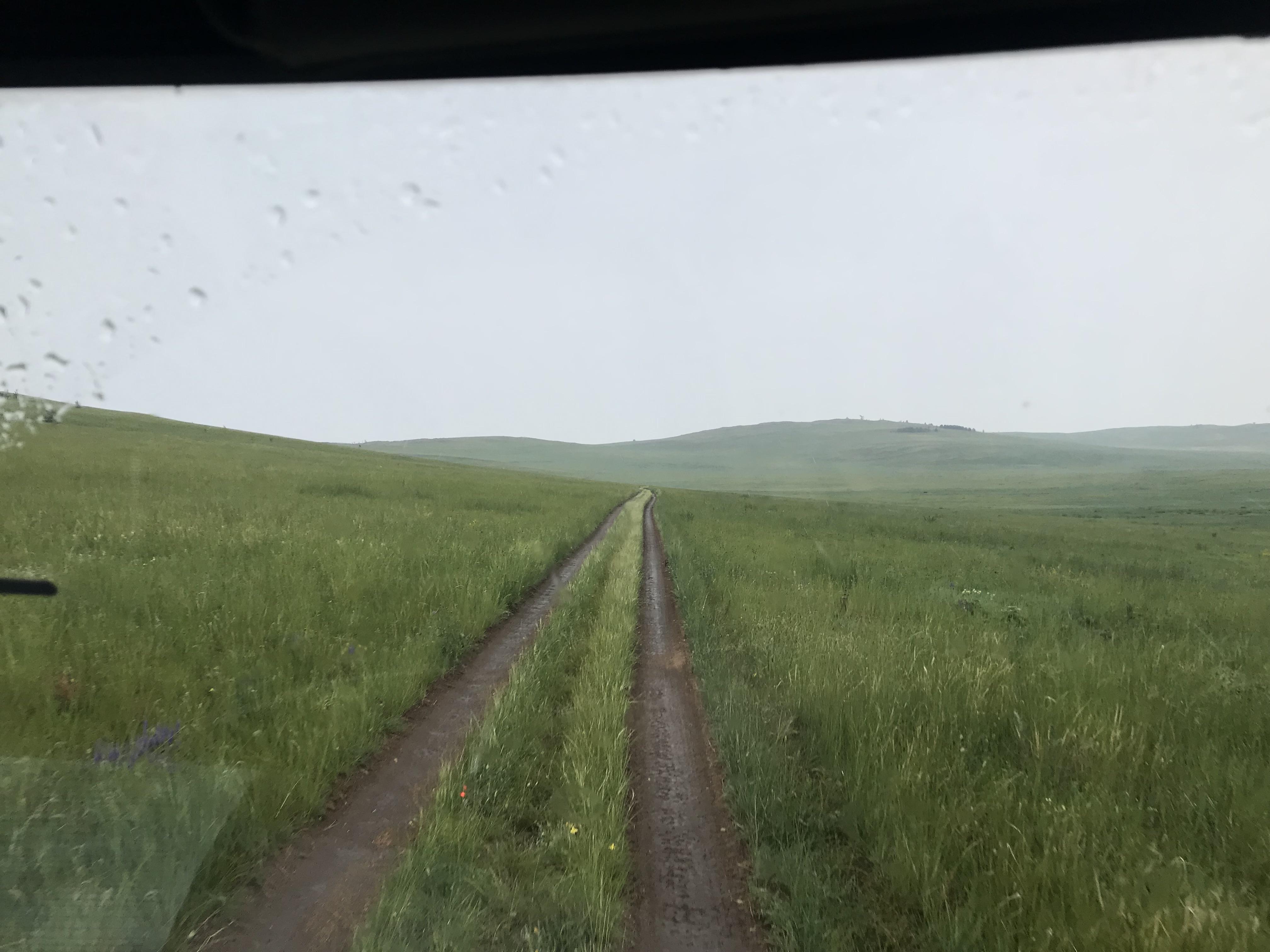 Rainy drive on road-less Olkhon Island.