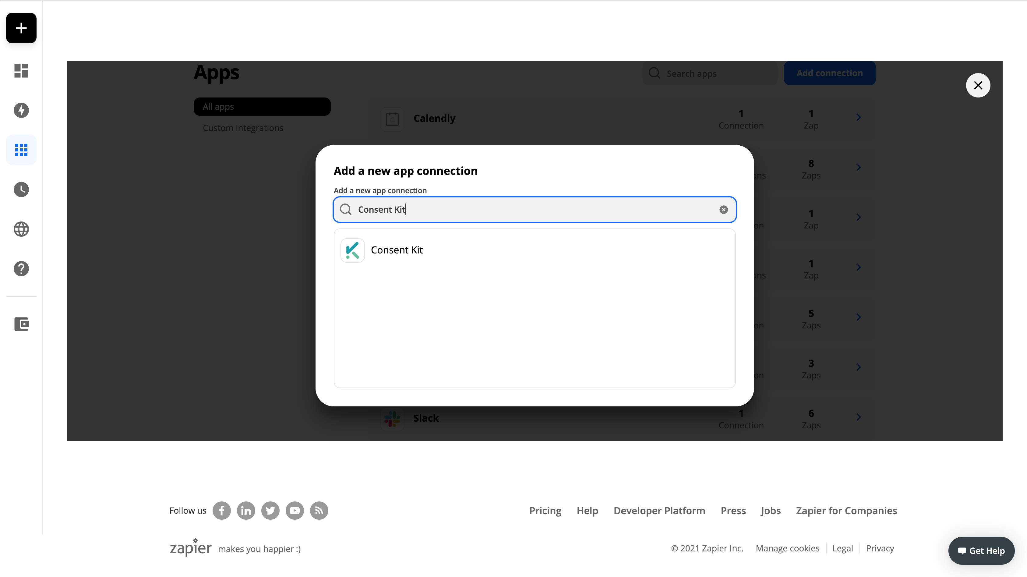 Screenshot of the add connection dialog in a Zapier account