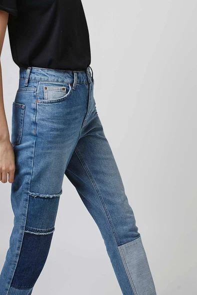 Jean avec patchs en jean sur les genoux