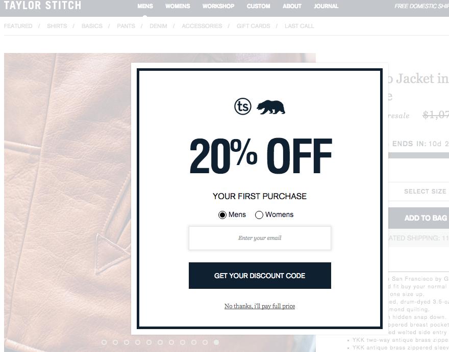Taylore Stitch 20% off popup