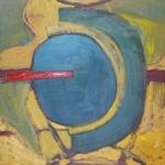 "Madis Kuningas, Estonia. ""Cloc-Boba"" (three pieces) 2001. Canvas, oil, 42x59cm"