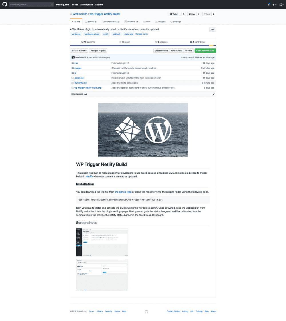 WP Trigger Netlify Build frontpage