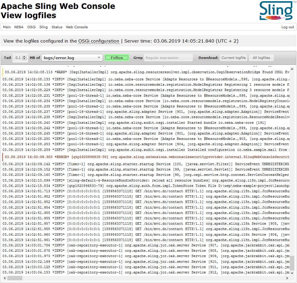 The NEBA log viewer allows following, analyzing and downloading logfiles of AEM or Sling instances