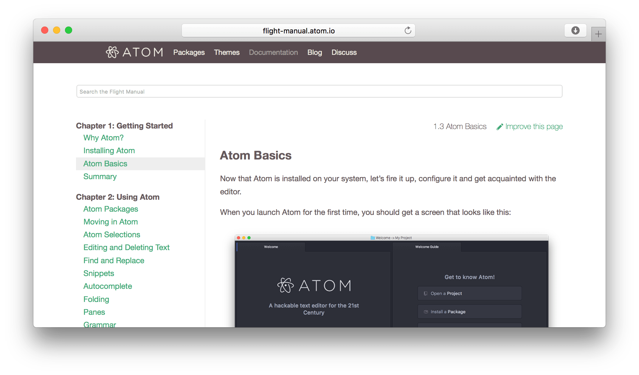 Atom flight manual site screenshot