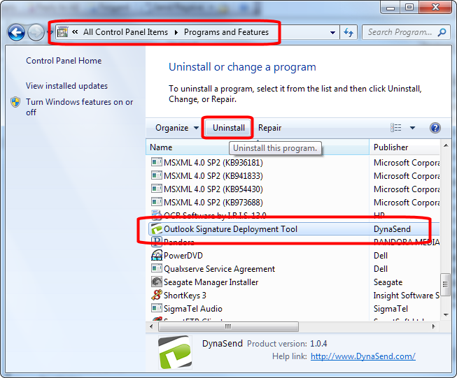uninstall the outlook deployment tool
