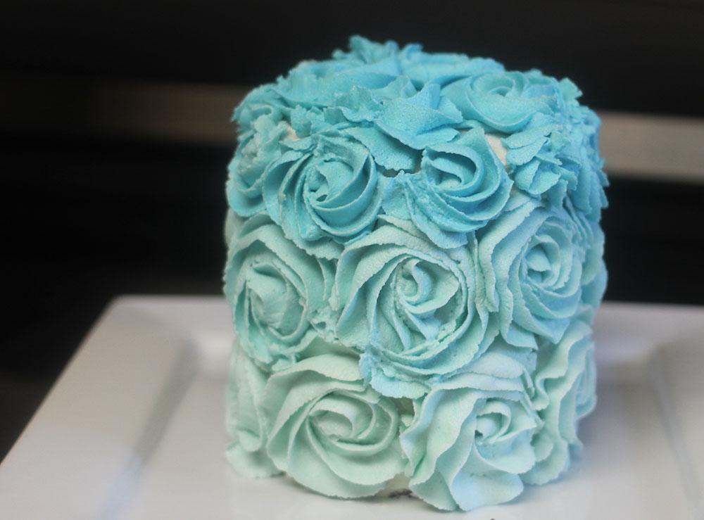 vegan ombre rose cake