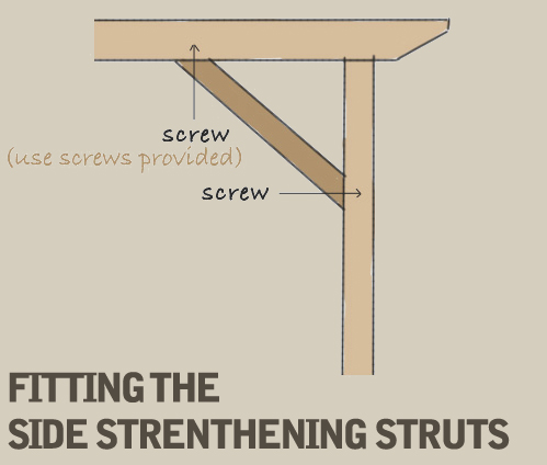 A diagram displaying how to fit the diagonal side strengthening struts to the post and main beam at a 45 degree angle