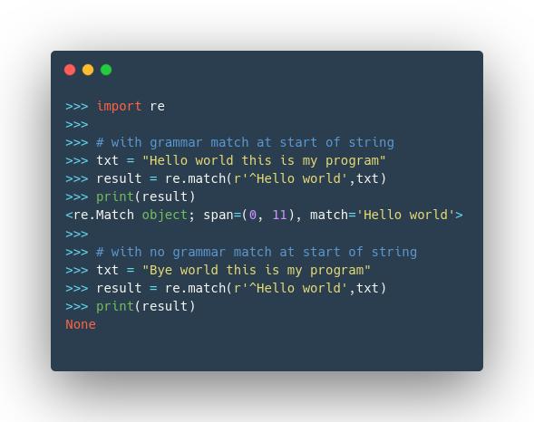python regular expression match example