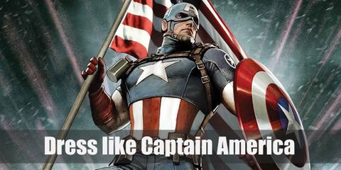 Captain America wears a red, white, and blue shirt with a star and stripes. He also wears a helmet with an alphabet A, blue pants, hand gloves, and combat boots.