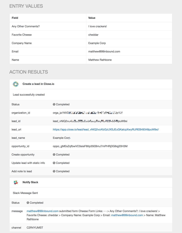 Form entry screenshot with close.io and slack