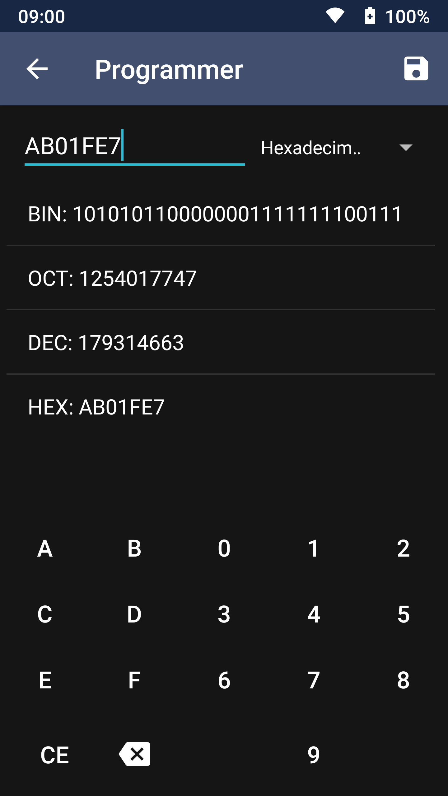 Screenshot of Programmer Unit Converter in unitMeasure: Offline Converter App
