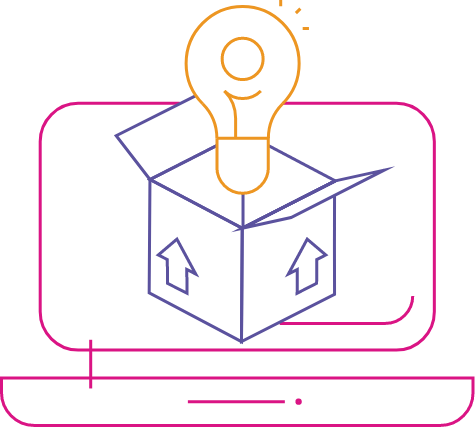 Icon of a lightbulb above an open box