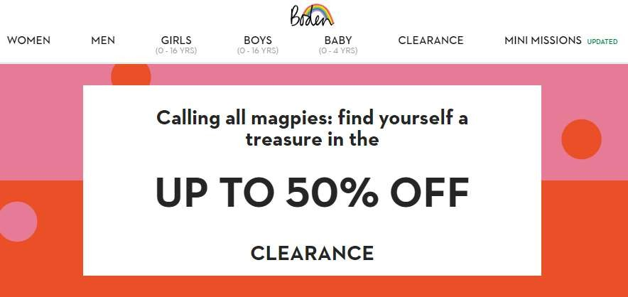 Clearance sales offer examples