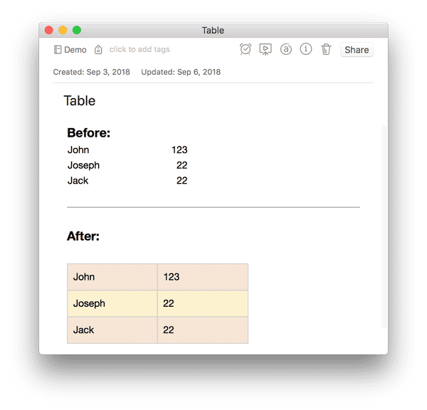 use EverTool to transform the table