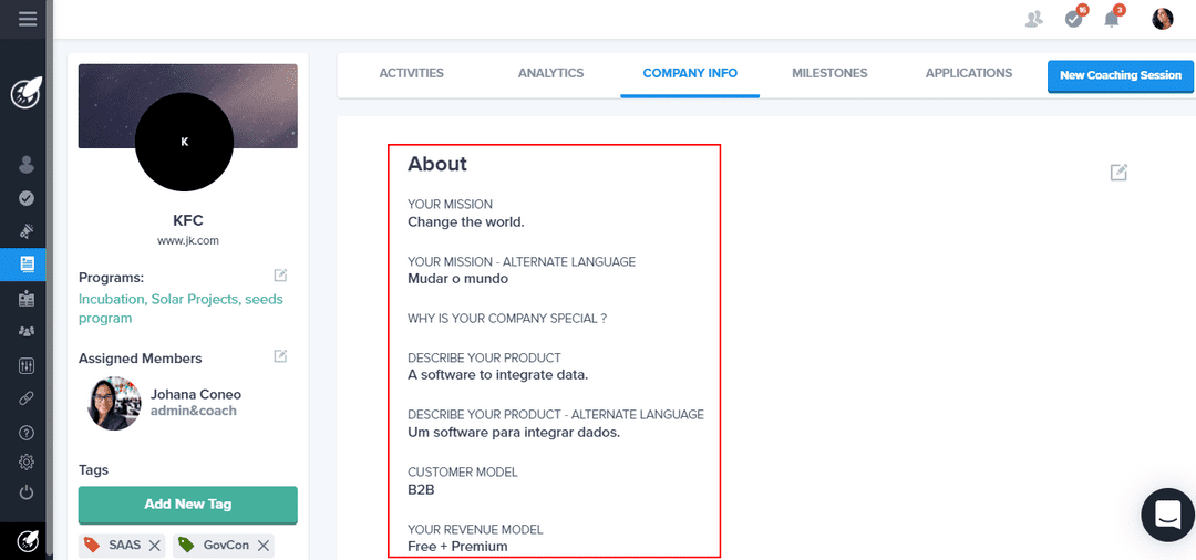 Custom field profile