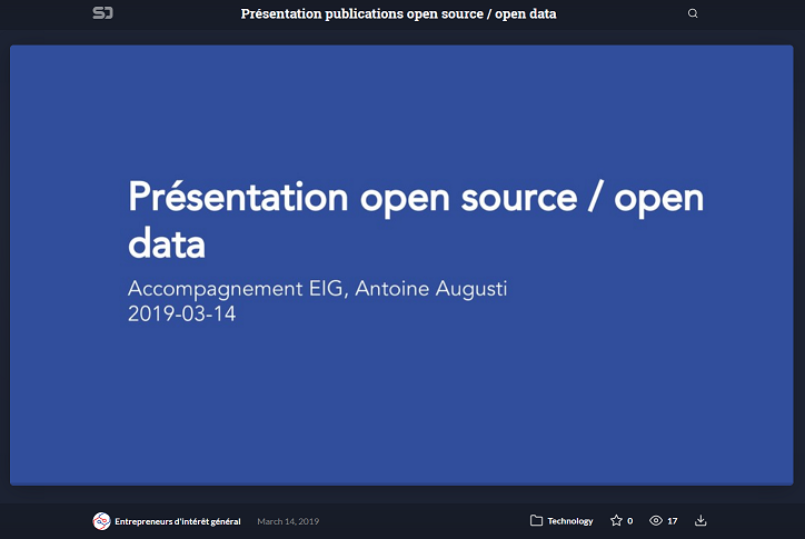 Slides on open source and open data by Antoine Augusti