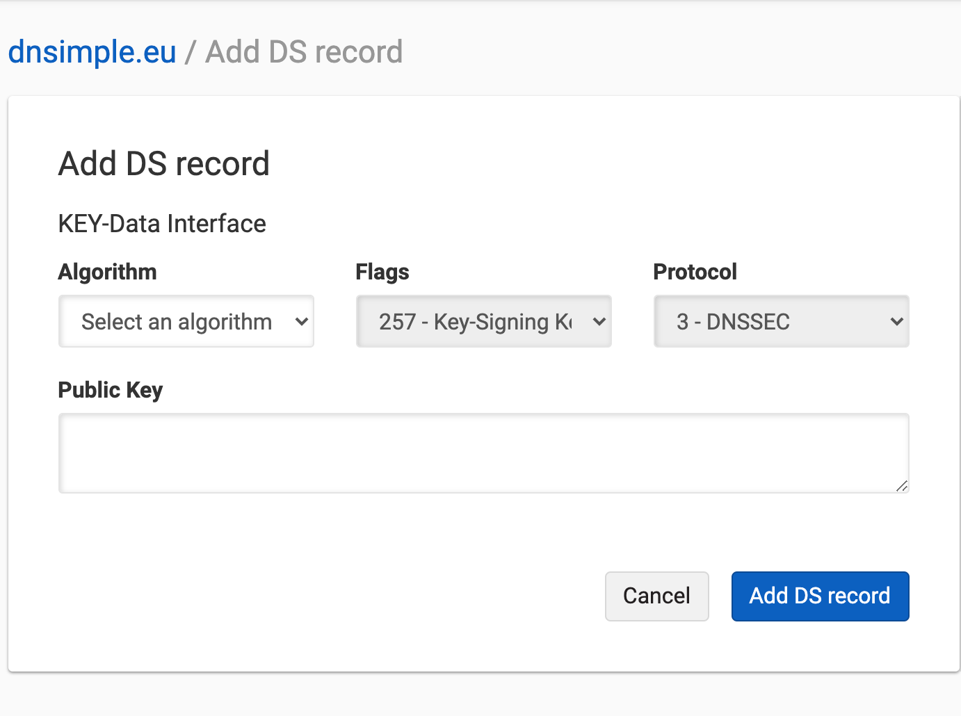 Add DS Record with Key Data