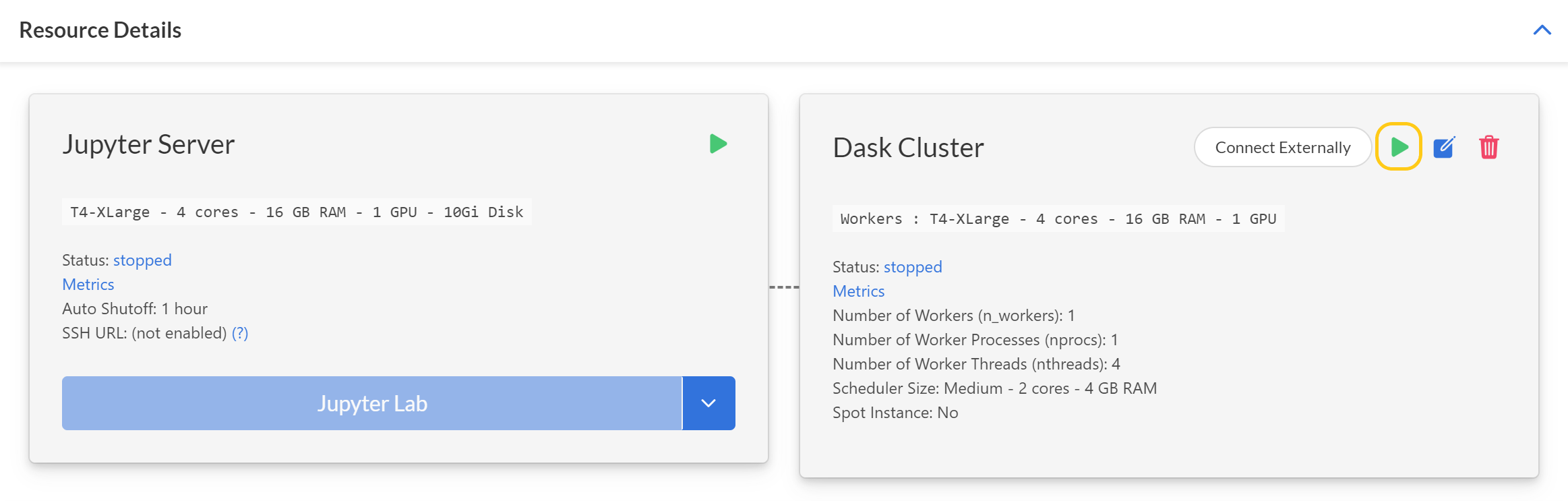 Cluster card in Project page of Saturn Cloud UI