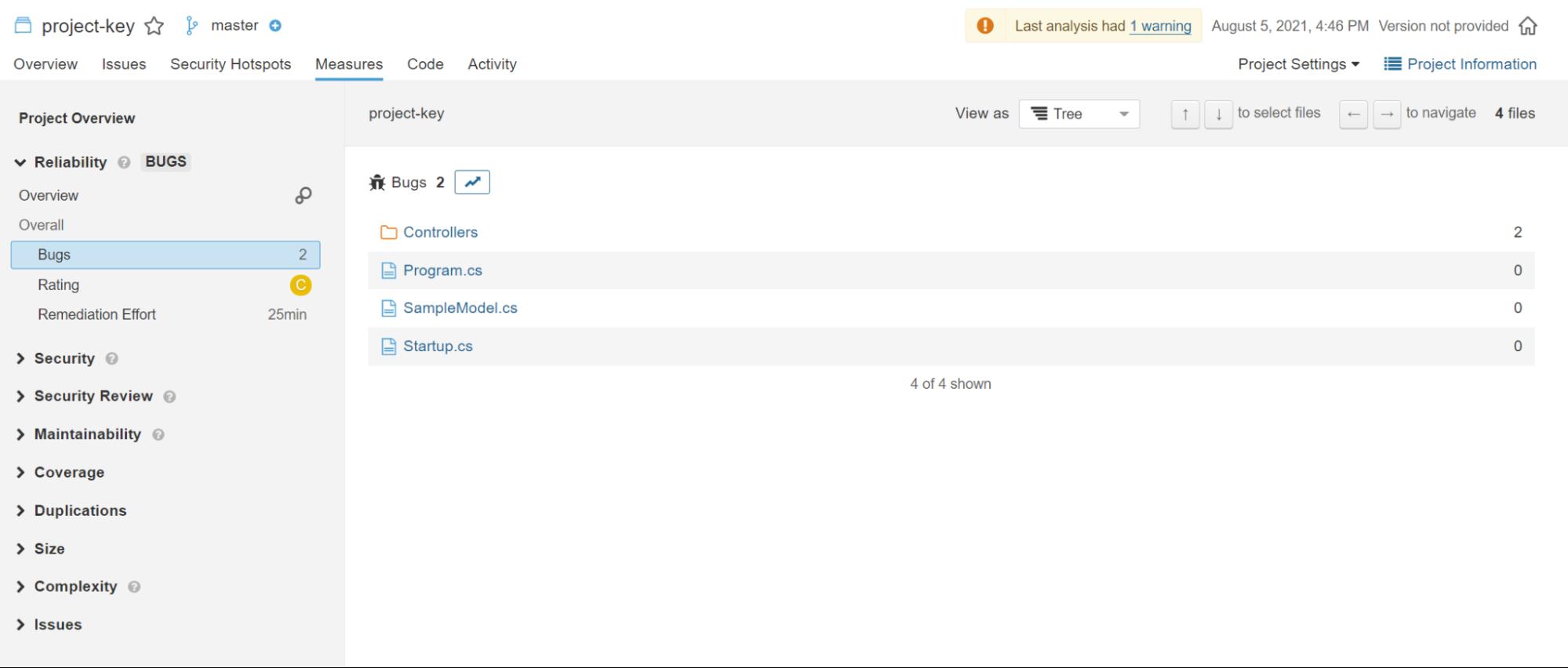 Screenshot of SonarQube General Measures Overview