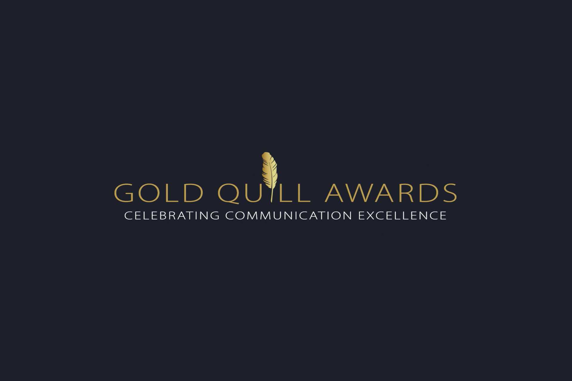 Gold Quill Awards celebrating communication excellence on dark gray