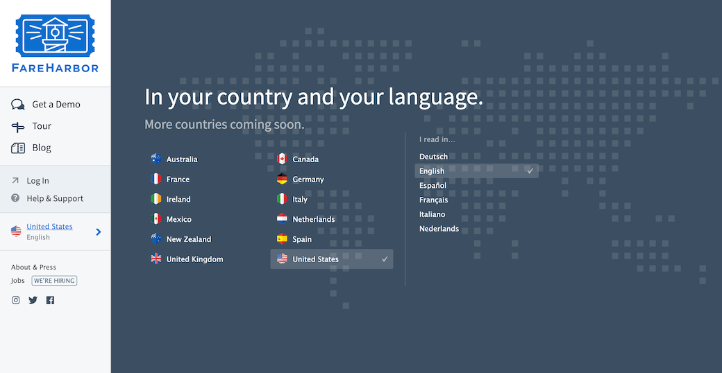 Screenshot showing the country and language selector interface for the FareHarbor website.