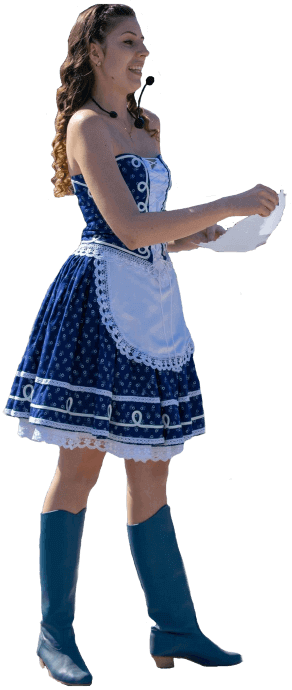Hegedűs Evelin női vőfély kékfestő ruhában