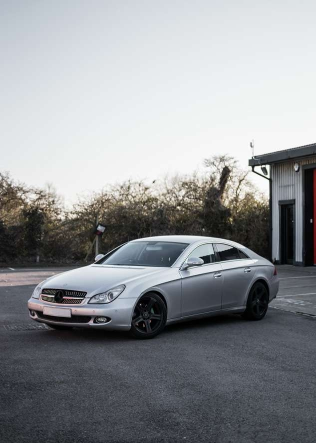 Grey Mercedes CLS before vinyl car wrapping