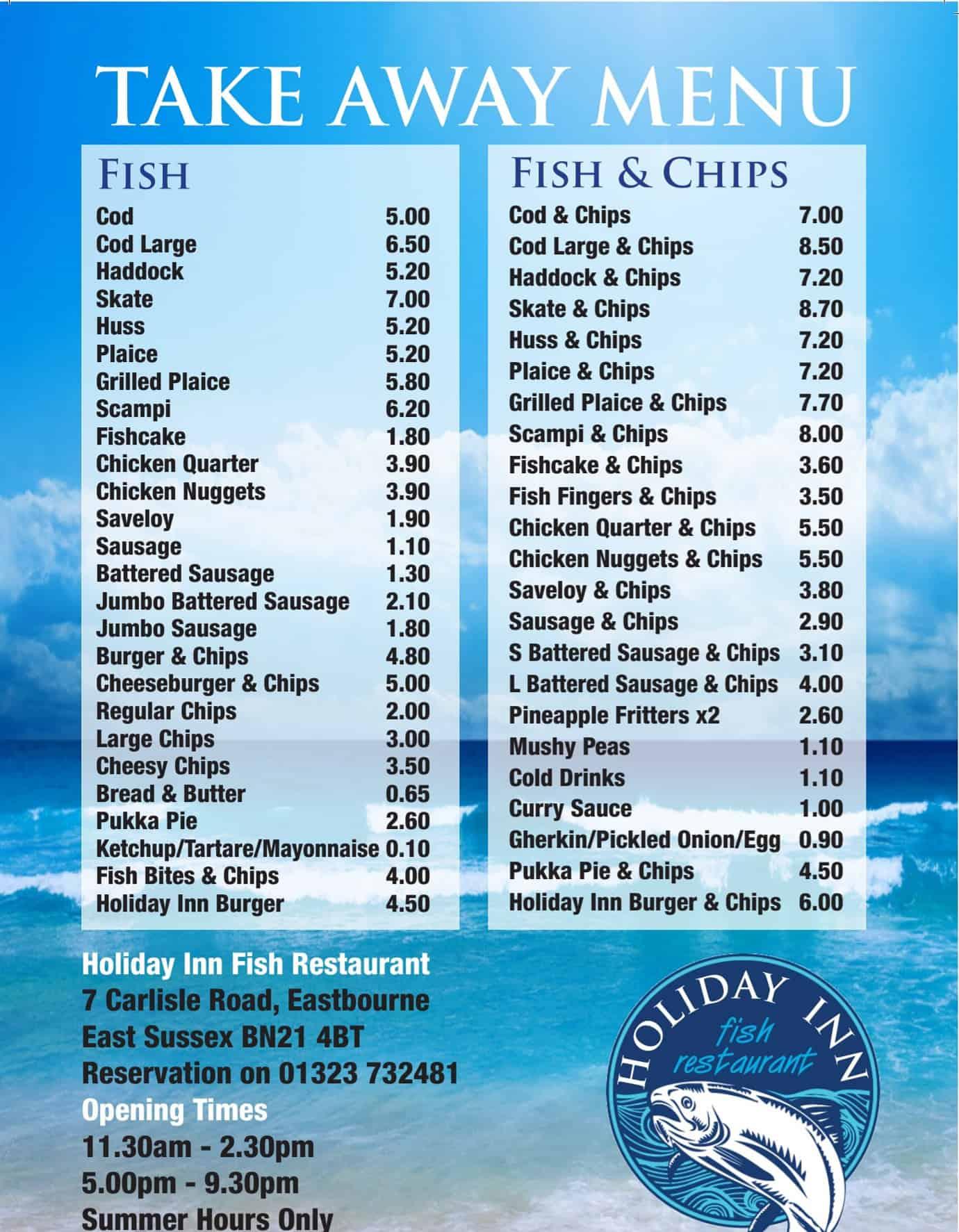 Menu for Holiday Inn Fish Restaurant